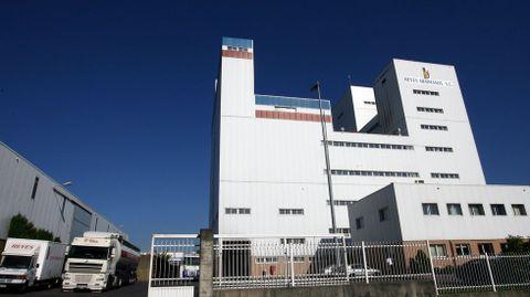 Una vista exterior de la fábrica de harinas Hermanos Reyes de O Campiño