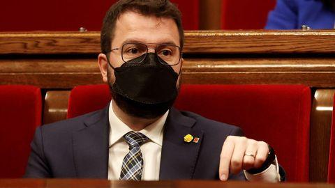 Pere Aragonès durante un pleno del Parlamento catalán este mes de mayo