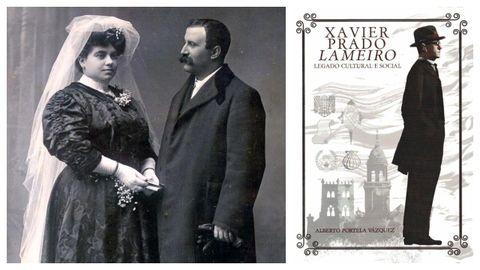Xavier Prado Lameiro posa coa súa segunda esposa, Dolores Montes, nunha fotografía de estudio tomada en 1907. Á dereita, portada do libro monográfico que lle dedica a Prado Lameiro o académico veterinario Alberto Portela Vázquez