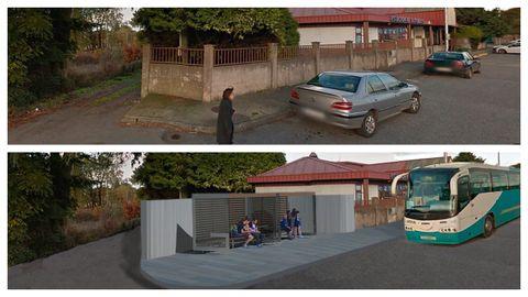 Arriba, el estado actual de una parada de autobús en Vilalba. Abajo, cómo quedaría con el nuevo proyecto