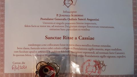 Certificado de la reliquia de Santa Rita