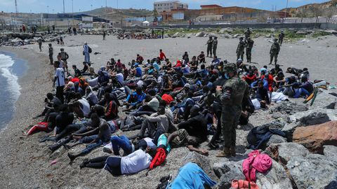 Inmigrantes llegados por mar a Ceuta