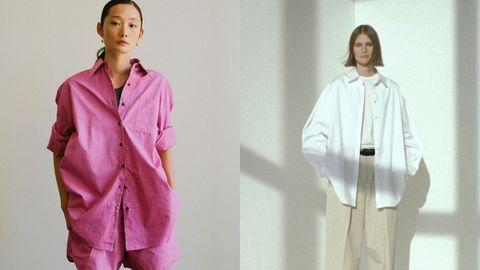 Dos modelos de camisa de The Frankie Shop y The Row