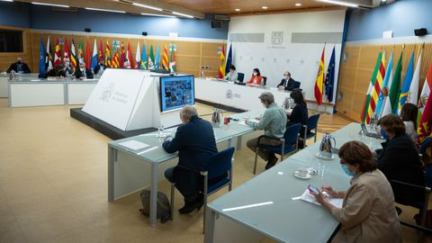 Momento de la reunión telemática entre ministerios y comunidades