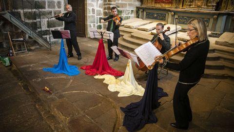 Un concerto do grupo Atlantic Mozart Flute Quartets na igrexa de Santa María a Nova de Noia, nunha imaxe de arquivo