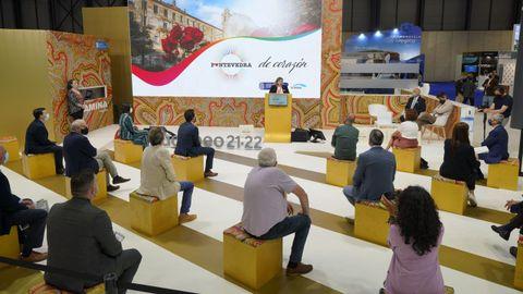 La concejala de Turismo y Promoción Económica, Yoya Blanco, durante su intervención en la feria