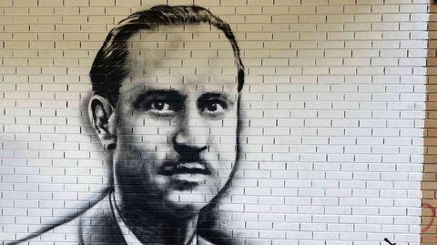 Mural co retrato de Florencio Delgado Gurriarán, obra de Orde Caos no Bañadoiro de Vilamartín de Valdeorras