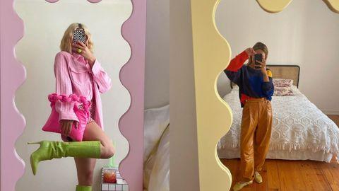 Las instagramers Maxine Wylde y Mafalda Patricio con sus espejos de colores