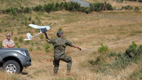 Drones usados por el Ejército contra los incendios forestales, en una imagen de archivo