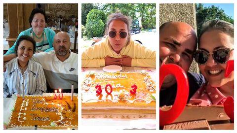 De izquierda a derecha. Teresa Puñal con Manuel Puñal (padre) y Estrella Valencia (abuela) que la acompañaron en el hospital; celebrando el año pasado su cumpleaños con las velas de 30 + 3; y junto a su marido Iván Pereira, que le pidió matrimonio el mismo día del trasplante.