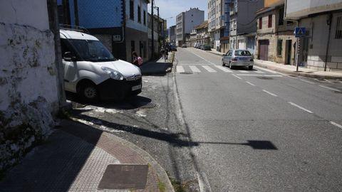 Carretera en el barrio de Estribela, en Pontevedra, donde se produjo un atropello mortal esta semana