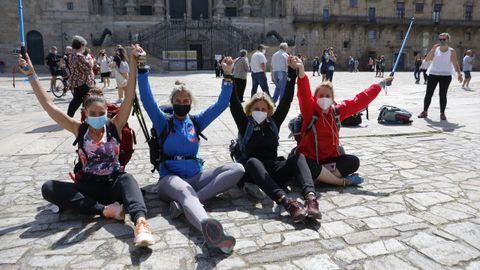 Un grupo de madrileñas llegaron tras terminar el Camino Portugués