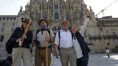 Un grupo de mexicanos a su llegada al Obradoiro