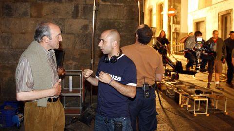 O director de «A noite que deixou de chover», o compostelán Alfonso Zarauza, na rodaxe do 2009