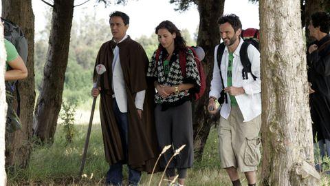 O actor Fernando Tejero no miradoiro do Monte do Gozo para a rodaxe de «Ao final do camiño»