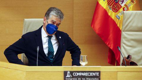El ex director general de la Policía, Ignacio Cosidó, este martes, en la comisión de investigación de la operación Kitchen