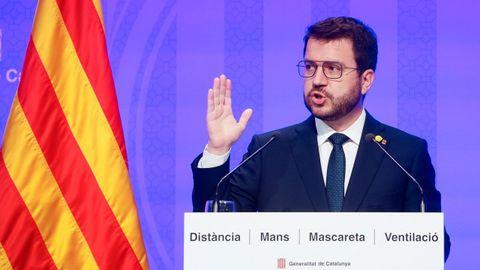El presidente de la Generalitat, Pere Aragonès, durante la rueda de prensa posterior a la reunión del Ejecutivo catalán