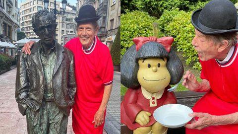 Fofito posa junto a Mafalda y Woody Allen a su paso por Oviedo