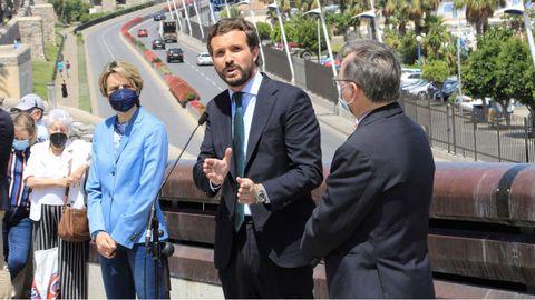 Pablo Casado, de visita este jueves en Ceuta, se negó a contestar a los periodistas sobre la imputación de María Dolores de Cospedal