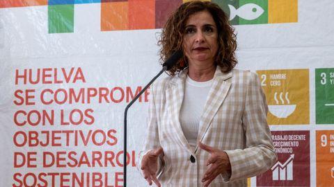 La ministra portavoz María Jesús Montero, este jueves en Huelva