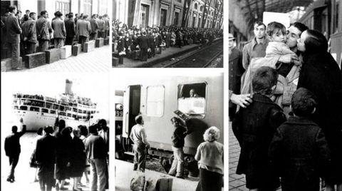 Fotografías de la exposición «Nós tamén fomos emigrantes»