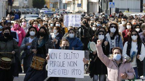 Imagen de archivo de la protesta celebrada en San Cibrao el pasado abril tras el archivo provisional de la causa judicial por las grabaciones de contenido íntimo a mujeres y no autorizadas en A Maruxaina