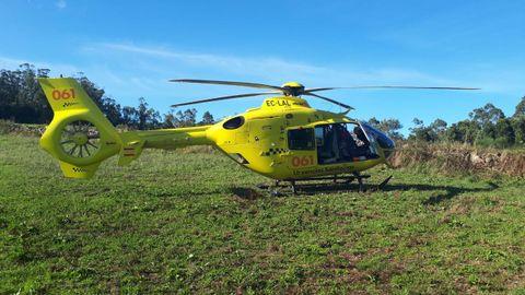 El helicóptero del 061 con base en Santiago se desplazó a Sabugueira para atender al fallecido