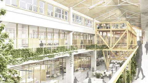 Recreación del primer edificio de la Cidade das TIC