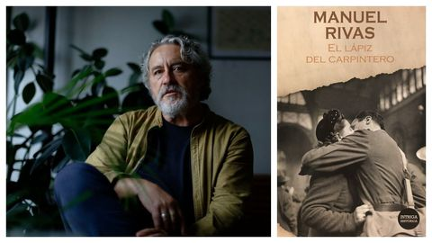Retrato do escritor Manuel Rivas. Á dereita, portada do libro que ofrece o domingo La Voz de Galicia.