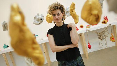 Alejandra Pombo, en una exposición en Ferrol