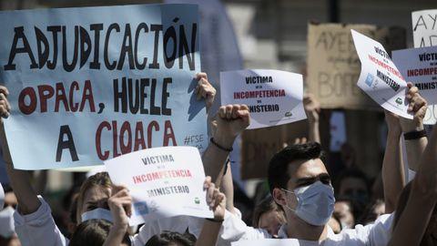 Participantes en la manifestación contra el sistema de elección de plazas de formación sanitaria especializada el pasado martes en Madrid