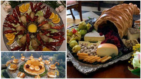 Pichones con cangrejos en salsa de naranja, bandeja de cisnes de nata y cornucopia de quesos, tres de los platos que Sonia Jabalera preparó para «La cocinera de Castamar»
