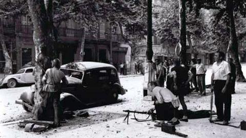 Combatientes de las fuerzas francesas del Interior (FFI) durante la liberación de Marsella de la ocupación nazi, en 1944