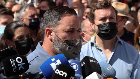 El presidente de Vox, Santiago Abascal, durante la manifestación