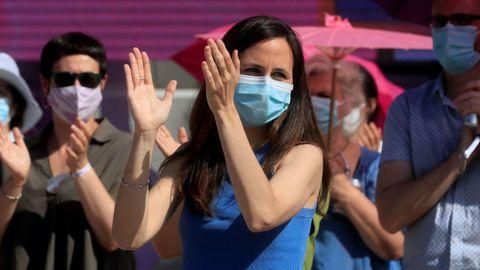 Ione Belarra, tras ser proclamada como nueva secretaria general de Podemos en la cuarta asamblea de la formación morada