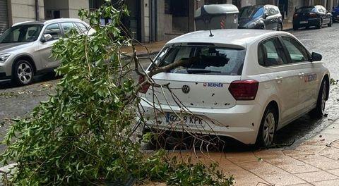 Uno de los árboles caídos en As Lagoas provocó daños en un coche
