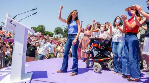 La líder de Podemos, Ione Belarra, tras ser elegida como secretaria general del partido.
