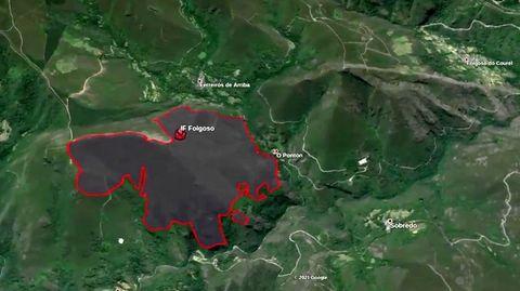 Mapa con la estimación de superficie quemada por el último incendio en Folgoso do Courel , elaborado con información del satélite Sentinel2