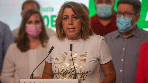 Susana Díaz, la noche del domingo, tras confirmarse su derrota ante Juan Espadas en las primarias del PSOE andaluz