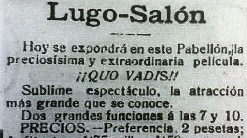 Anuncio de una de las películas más espectaculares que se proyectaron en el Lugo Salón, de 1913