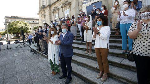 Carmela Silva participó este lunes en Pontevedra en la movilización contra la violencia machista y vicaria
