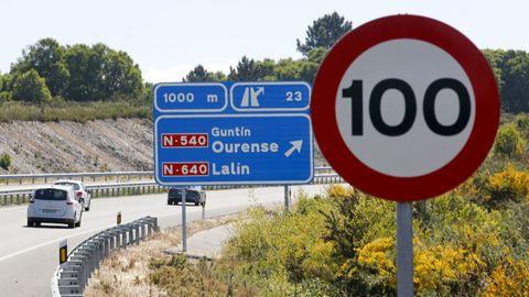 Limitación a 100 por hora en la A-54 entre Lugo y Guntín, durante 10 kilómetros