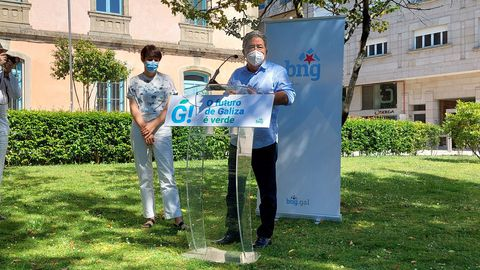 Ana Pontón y Miguel Anxo Fernández Lores, en Pontevedra