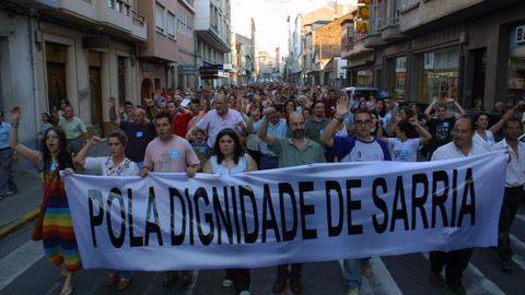 Manifestación multitudinaria en Sarria por el caso de transfugismo, de las más importante que se convocaron en el concello