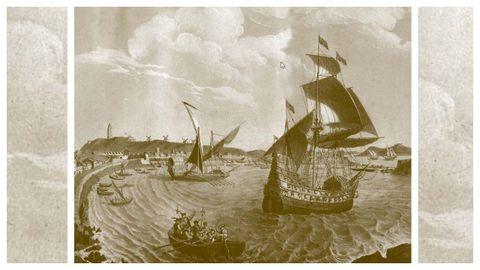 A armada de García Jofre de Loaysa saíndo da Coruña cara ás Molucas en 1525 (litografía de 1854).