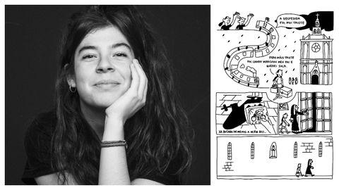 A debuxante Julia Lago e un detalle da obra coa que gañou o premio Castelao