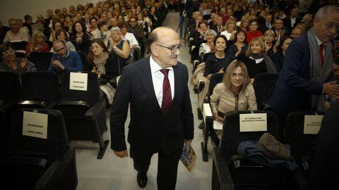 Ulbaldo Rueda en el homenaje que le rindió en el 2018 el instituto Rosalía de Castro, del que fue director durante 33 años