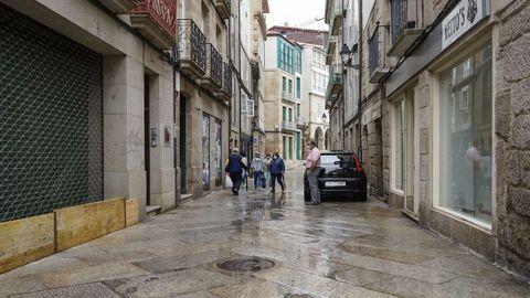 La calle Cervantes, a un paso del Concello, fue una de las más afectadas
