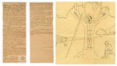 El manuscrito que recoge el enfrentamiento entre Unamuno y Millán Astray el 12 de octubre de 1936 en el paraninfo de la Universidad de Salamanca. A la derecha, el dibujo de Unamuno que muestra a don Quijote crucificado