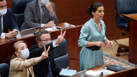 La portavoz de Vox en la Asamblea de Madrid, Rocío Monasterio, durante la segunda jornada del debate de la sesión de investura en la Comunidad de Madrid